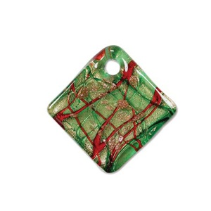 Glass Pendant 40mm Green Quadrat