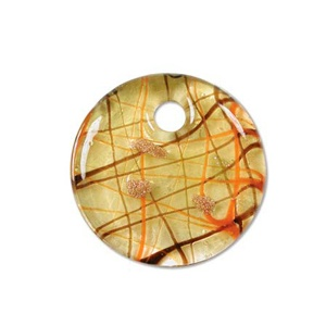 Glass Pendant 40mm round Amber