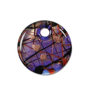 Glass Pendant 40mm round Blue