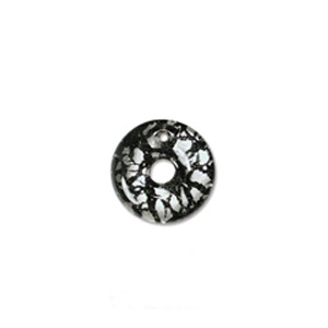 Glass Pendant 19mm round Black Silver Lined