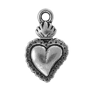 Tierracast Pendant 21mm Heart Milagro Antique Silver