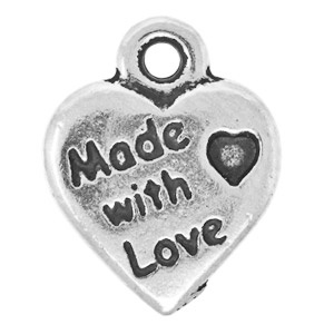 Tierracast Pendant 12mm Made with Love Antique Silver