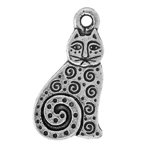 Tierracast Pendant 20mm Cat Antique Silver