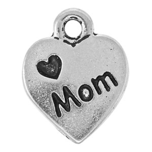 Tierracast Pendant 12mm Love Mom Antique Silver