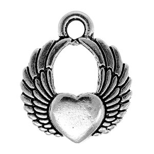 Tierracast Pendant 18mm Winged Heart Antique Silver