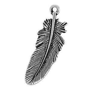 Tierracast Pendant 23mm Feather Antique Silver