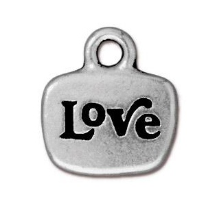 Tierracast Pendant 14mm Love Antique Silver