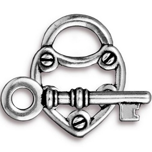 Tierracast Clasp Set 30mm Lock and Key Antique Silver