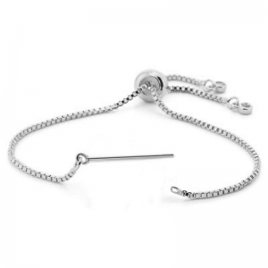 Bracelet with Pin adjustable Rhodium plated
