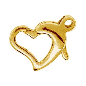 Lobster Clasp Heart 10mm Gold Plated