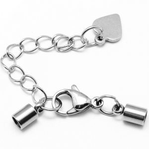304 Stainless Steel Cord Ends 3mm with oval Extender Chain and Lobster Clasps