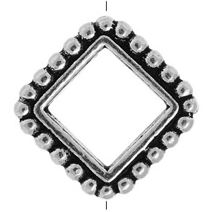 Tierracast Bead Frame Diamond 8mm Square Antique Silver