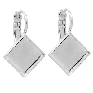 Earring Setting 10mm Silver Plated Swarovski Elements 2493