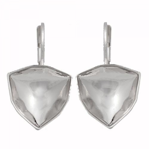 Earring Rhodium Plated 12mm for Swarovski Trilliant 4706