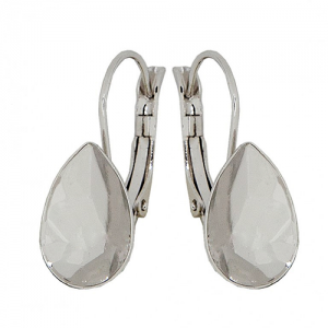 Earring Rhodium Plated 14mm for Swarovski Pear 4320
