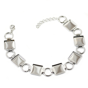 Chessboard Bracelet 18cm Rhodium plated with Lobster Clasp