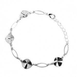 Chabochon Bracelet 16.5cm Rhodium plated with Lobster Clasp