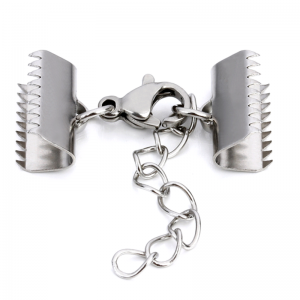 Stainless Steel Claw Crimp end clasp 15mm with extension chain