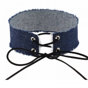 Denim Choker to lace up 30cm Denim Navy Blue