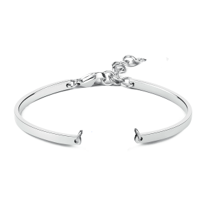 Bangle 6cm rhodium plated incl. extension chain