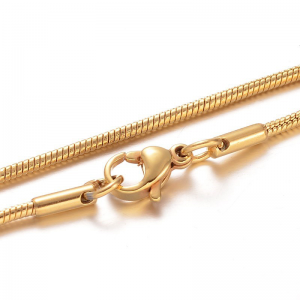 304 Stainless steel Snak chain Gold plated 45cm with Lobster Clasp