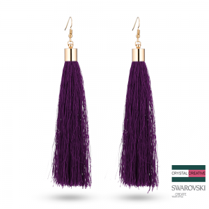 Purple Nylon Tassel Earrrings 110mm Gold plated