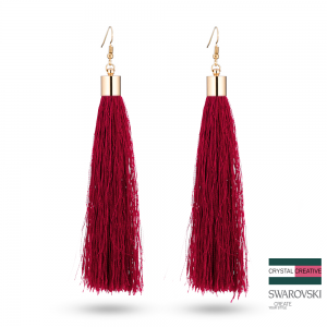 Red Nylon Tassel Earrrings 110mm Gold plated