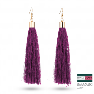 Violet Nylon Tassel Earrrings 110mm Gold plated