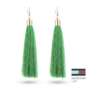 Pale Green Nylon Tassel Earrrings 110mm Gold plated