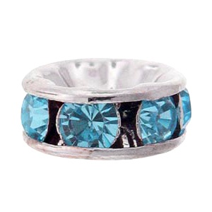 SWAROVSKI ELEMENTS Rondell Silber 8mm Aquamarine