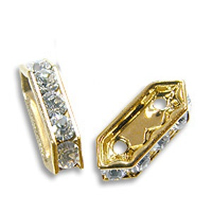 SWAROVSKI ELEMENTS Steg 2-Reihig Gold 10 x 5mm Crystal
