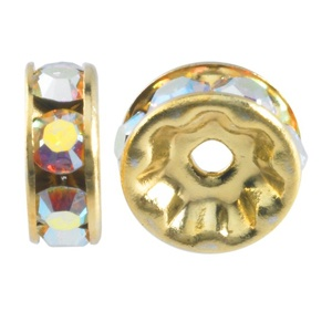SWAROVSKI ELEMENTS Rondell Gold 6mm Crystal AB
