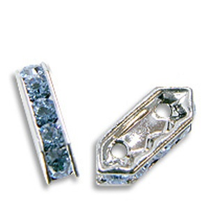 SWAROVSKI ELEMENTS Steg 2-Reihig Silber 10 x 5mm Light Sapphire