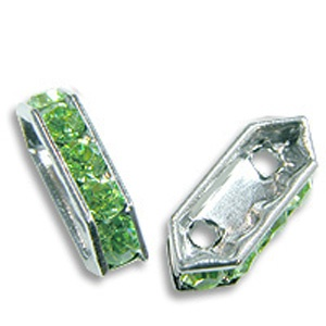 SWAROVSKI ELEMENTS Spacer Bar Silver 10 x 5mm Peridot