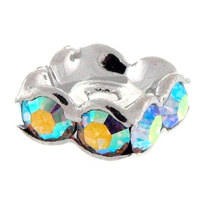 SWAROVSKI ELEMENTS Rondell 7 x 7mm Silber Crystal AB
