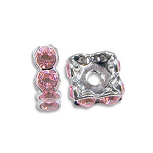 SWAROVSKI ELEMENTS Rondell 7 x 7mm Silber Light Rose