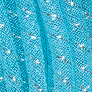 Nylon Fishnet Tube with Silver Inlay 8mm Aquamarine