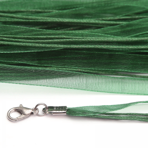 Green Organza Ribbon Necklace 45cm Lobster Clasp