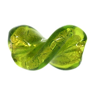 Murano Bead 20mm Leave Drilled Peridot Gold Foiled
