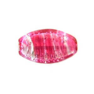 Murano Bead 33x19mm Leave Rosa Silver Foiled