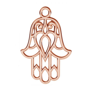 Charm Pendant Hamsa hand 22mm Sterling Silver Pink Gold plated