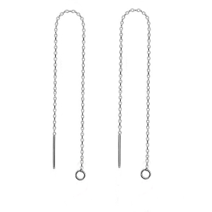 Ear Threaders Cable Chain with Closed Ring Sterling Silver