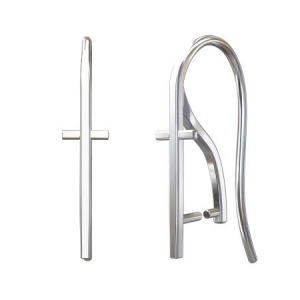 Ear Hook Cross 19mm Sterling Silver plated