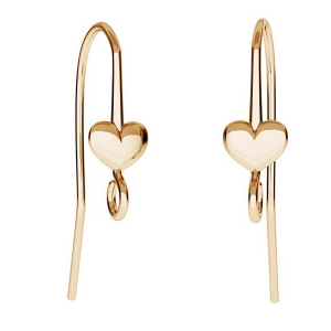 Ear Hook Heart 26mm Sterling Silver Gold plated