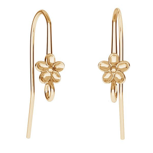 Ear Hook Flower 26mm Sterling Silver Gold plated