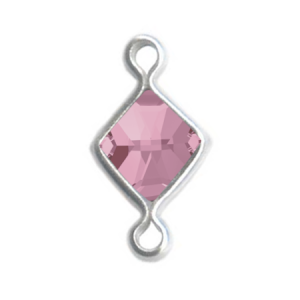 SWAROVSKI Link Charm Square 5mm Light Rose Rhodium