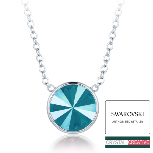 Make your own delicate necklace rhodium plated made with SWAROVSKI Rivoli