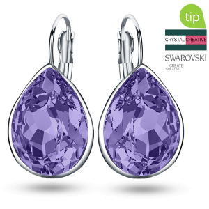 Make your own Swarovski Drop violet earrings rhodium plated