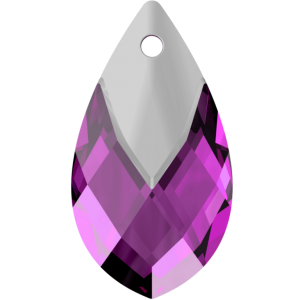 SWAROVSKI 6565 18mm Pear Pendant Amethyst Light Chrome
