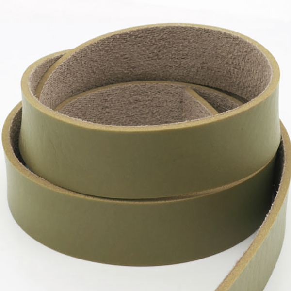Flat Faux Leather Cord 10mm Armygreen